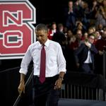 Obama draws dignitaries, opposition to NC State (PHOTOS)