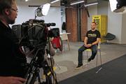 Erik Wullschleger, general manager of the accelerator, speaks with media.