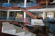 These spiral staircases will be a main feature for guests, leading them to the respective theaters.