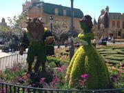 This Beauty and the Beast topiary near the France pavilion, where the L'Orangerie marketplace serves up dishes like a veggie tart with goat cheese, beverages like the Kronenbourg Blanc fruity white beer and features plantings of eggplant, peach, rosemary and tomato.