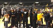 Team members were welcomed by a crowd of Shocker fans.