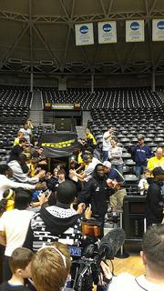 The Wichita State Shockers returned to Wichita after facing Louisville in the Final Four.