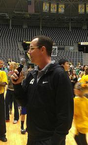 Coach Gregg Marshall addresses the crowd.