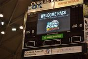 """The scoreboard displays the message """"Got my city right behind me,"""" which has been a part of the social media messaging surrounding the Shockers' NCAA tournament run."""