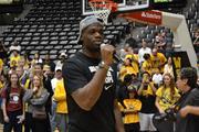 Team member Chadrack Lufile spoke to fans.