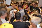 Shocker fans swarmed Coach Gregg Marshall for autographs after the rally.