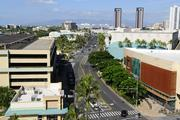 The rooftop view of Kakaako from the newly renovated IBM building, looking toward Downtown Honolulu.