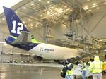 Boeing Co. tests new cargo jet with Seattle Seahawks theme