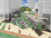 A rendering of Carlyle Plaza Two, specifically the bio-wall along Eisenhower Avenue.