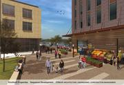 A rendering of the proposed redevelopment of a riverfront property in Troy, NY. The plan envisions a new home for the Troy Waterfront Farmers' Market, alongside luxury apartments.