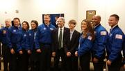 Joey (fourth from right) with a group of future astronauts.