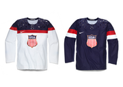 Nike designed the USA Hockey jersey to be lightweight and offer an easy range of motion. Details pay homage to teams that won gold medals in 1960 and 1980.