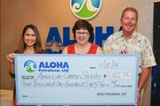 Aloha Petroleum, Ltd. and its customers donated $4,182 to the American Cancer Society. Aloha Petroleum, Ltd. matched the funds raised through canister collection donations at participating Aloha Island Mart and Shell locations throughout the state during November. From left: Cassandra Bui, marketing communications manager for Aloha Petroleum, Ltd.; Lani Almanza, senior representative of community engagement, American Cancer Society; and Gary Altman, general manager of company operated stores for Aloha Petroleum, Ltd.
