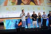 The Ko Olina Resort Association gave $50,000, including proceeds from the 2014 Ko Olina Children's Film & Musical Festival and matching funds from the association, to the Kapiolani Medical Center for Women & Children for the hospital's $30 million capital campaign. From left, Jeff Stone, president of the Ko Olina Resort Association president and CEO of The Resort Group; Martha Smith, CEO of Kapiolani Medical Center; Ray Vara, CEO of Hawaii Pacific Health; Linda Jameson, philanthropy director at Kapiolani Medical Center; Gregory Grigaitis, Ko Olina Resort Association vice president and project director, Hawaii Timeshare Operations for Marriott Vacation Club International; and Todd Apo, director of public affairs for Aulani, a Disney Resort & Spa.