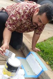 Ken Stroup of Pittsburgh Paints plasters the first curb in the Waimahaihai district in Kihei, Maui, which received a fresh coat of paint on selected curbs along area streets. Built by Schuler Homes in the mid-1970s, house numbers on the curb which were once standard have been all but erased from the curbs.