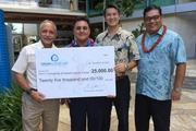 Admor HVAC Products and coolingcancer.org presented a check for $25,000 to University of Hawaii Chancellor Tom Apple and David Mori from the UH Foundation at the University of Hawaii Cancer Center in Kakaako. From left, Chancellor Tom Apple, Drew Santos, David Mori and Charlie Young Coolingcancer.org is a non profit organization established by Admor HVAC Products which is a locally and employee owned company that distributes air conditioning equipment and accessories.