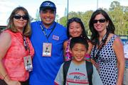 From left, Teri Klein of Proctor & Gamble; Jeff Callangan, USO Hawaii Council president, Molly Fanning, Blue Chip Marketing, and Barbara Kelly of Procter & Gamble at a free Football ProCamp for 135 military children at Schofield Barracks last month put together by the Cardinals' Andre Roberts and Procter & Gamble.