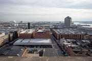 The Gunther Apartments, at 3600 O'Donnell St. in Brewers Hill, as seen from atop the Natty Boh Tower.