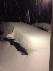This is the amount of snow some people are having to brush off their cars this morning.