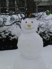 A snowman outside a home on St. Paul Street near Johns Hopkins University.