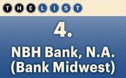 No. 4 NBH Bank, N.A. (Bank Midwest)  Local commercial loans as of Dec. 31: $643,447,000 Location: Kansas City For more information, check out the 2014 top commercial lending banks available to KCBJ subscribers.