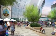 This rendering of the outside of the downtown arena prominently features outside space.