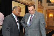 Prince George's County Executive Rushern Baker, left, chats with D.C. Mayor Vincent Gray.