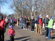 Spectators at the finish line cheered on the runners