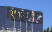 """Seattle Opera's banner for """"The Ring"""" on McCaw Hall would not have made the cut under the proposed new sign code."""