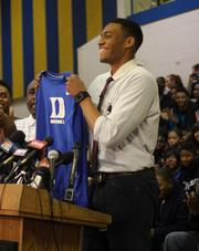 Jabari Parker, a star basketball player at Simeon, during a press conference at which he verbally committed to play for Duke University.