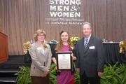 From left, West Springfield High School assistant principal Rebecca Brandt, regional student essay winner Lexi Maycock of West Springfield High School and Tim Sargeant of Dominion.