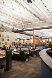 The production floor at Accent Marketing Services is shown here.