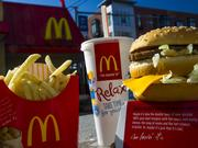 A McDonald's Corp. Big Mac meal is arranged for a photograph outside of a restaurant.