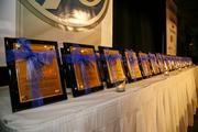 The awards all lined up before the event.