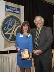 40 Under 40 winner Kate Strzok of Broadway Paper and Milwaukee Business Journal editor-in-chief Mark Kass