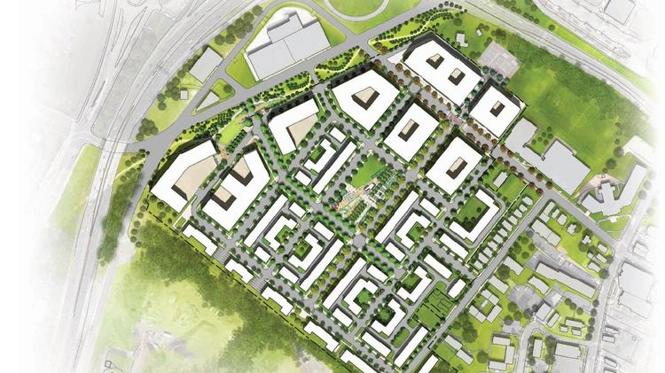 An early image of what the new Barry Farm may look like, with a central, 1-acre park surrounded by housing and retail.