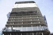 An exterior shot of some of the double-skin facade that has been placed on the Tower at PNC