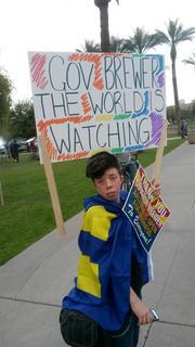 Protestors gathered outside the Arizona Capitol Feb. 26 as Gov. Jan Brewer vetoed SB 1062.
