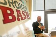 BBJ Publisher John Dinkel speaks during the VIP receptions at the BBJ RE Broker Bash.