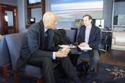Abdul-Jabbaar chats with Milwaukee Business Journal reporter Rich Kirchen.