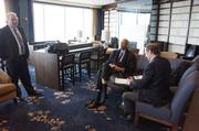 Milwaukee Business Journal editor-in-chief Mark Kass (left) also asked Kareem a few questions.