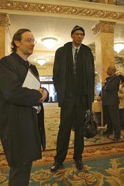 I chatted a bit with Kareem Abdul-Jabbar after he entered the Pfister Hotel lobby solo.