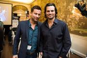 "Chris Bukowski of the The Bachelorette and actor Scott Elrod of ""Lone Survivor"" pose for the camera during the ninth annual Chance for Life event at City Tavern Club."