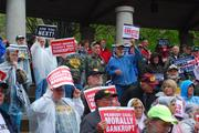 Union protestors rally at Kiener Plaza in downtown St. Louis on April 16.