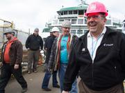 Frank Foti, president of Vigor Industrial, is all smiles after the christening of the new Washington State ferry, Tokitae, on Thursday at the Vigor shipyard on Seattle's Harbor Island.