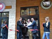 5280 Burger Bar opening in February at Denver Pavilions. From left: Don Redlinger, co-owner; Chiquita McGowan, Denver's Office of Economic Development; Clay McPhail, co-owner; Mark Sidell, president of Gart Properties.