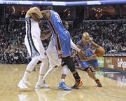 Guard Derek Fisher turns off a screen by Kevin Durant