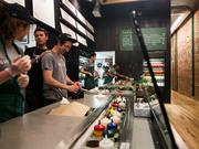 Workers at the Sweetgreen in th Back Bay.