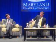 Host Hotels & Resorts CEO Ed Walter, left, and Marriott CEO Arne Sorenson talk business during the Maryland Chamber of Commerce's first ever CEO Spotlight event.