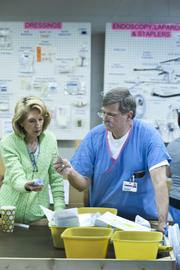 Sarah Nicholson and Ed Staples worked together to determine how various medical products should be organized.